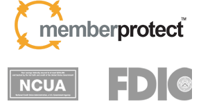 MemberProtect, NCUA, and FDIC logos