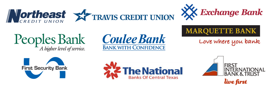 Montage of logos of various banks and credit unions